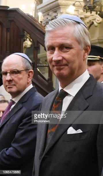Cérémonie organisée dans le cadre du 140e anniversaire de la Grande Synagogue de Bruxelles en présence du Roi Ceremonie ter gelegenheid van de 140e...