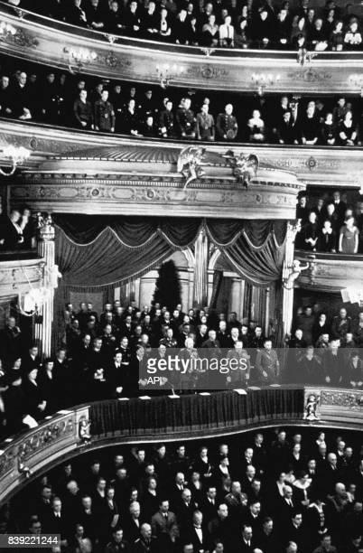 Cérémonie pour la commémoration de la Première Guerre Mondiale dans l'Opéra d'État de Berlin en Allemagne