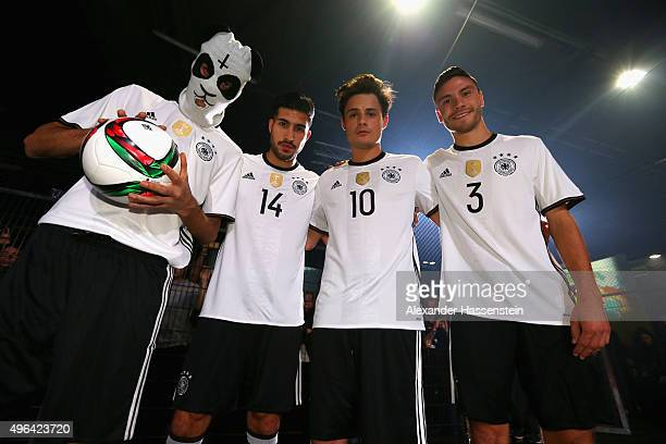 Cro Emre Can Dajuan and Jonas Hector attend the adidas presentation of new DFB home jersey for UEFA EURO 2016 at The Base on November 9 2015 in...