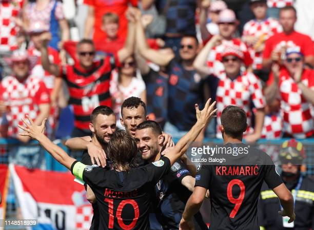 Croat players celebrate thei goal during the 2020 UEFA European Championships group E qualifying match between Croatia and Wales at Stadium Gradski...