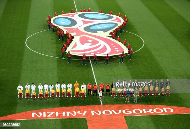 Croatia and Argentina line up prior to the 2018 FIFA World Cup Russia group D match between Argentina and Croatia at Nizhny Novgorod Stadium on June...