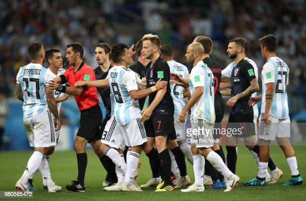 Croatia and Argentina players clash after Nicolas Otamendi of Argentina kicks the ball into Ivan Rakitic of Croatia during the 2018 FIFA World Cup...