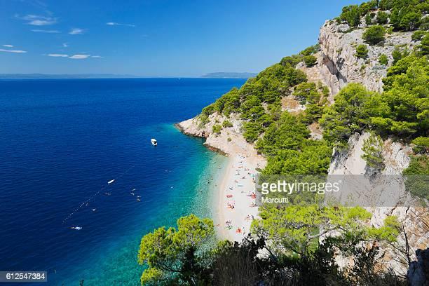 croatia beach - kroatië stockfoto's en -beelden