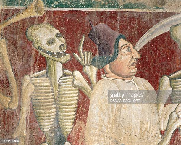 Croatia Beram Church of of Holy Mary Vincent Kastav The Dance of Death 1474 Fresco detail of the merchant and Death