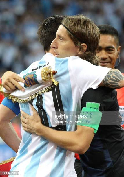 Croatia captain Luka Modric greets Argentina captain Lionel Messi on the pitch prior to the 2018 FIFA World Cup Russia group D match between...