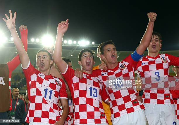 Croatia celebrate after they defeated Nigeria during the FIFA U17 World Cup Group A match between Croatia and Nigeria at Estadio Francisco Sanchez...