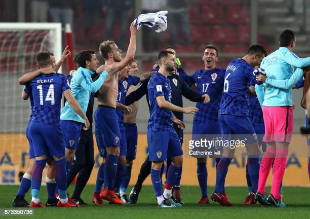 Croatia celebrate following qualification to The World Cup after the FIFA 2018 World Cup Qualifier PlayOff Second Leg between Greece and Croatia at...