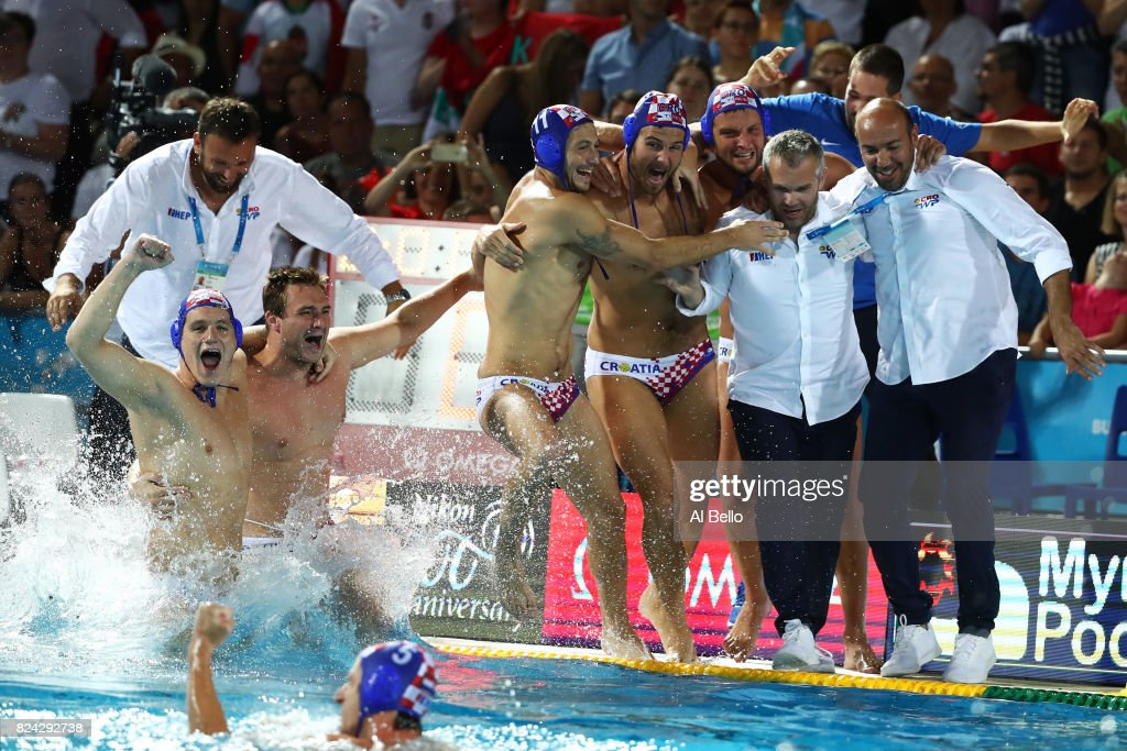 Croatia celebrate victory during the Men's Waterpolo Final between Hungary and Croatia on day sixteen of the Budapest 2017 FINA World Championships on July 29, 2017 in Budapest, Hungary.