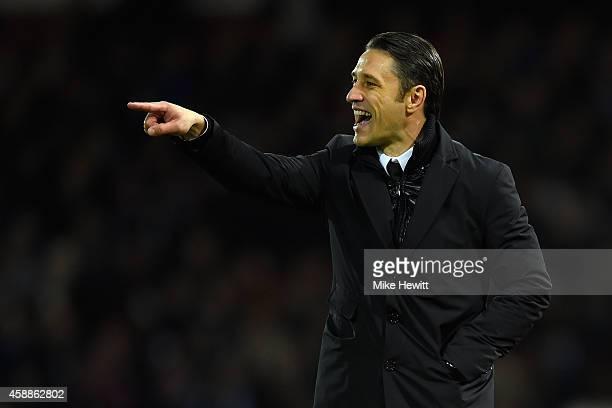 Croatia coach Niko Kovac shouts instructions during an International Friendly between Argentina and Croatia at Boleyn Ground on November 12 2014 in...