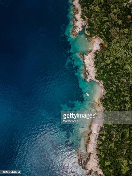 croatia, cres, adriatic sea - bucht stock-fotos und bilder