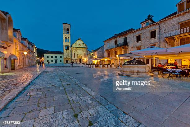 croatia, dalmatia, hvar, restaurats at st. stephen's square - hvar stock photos and pictures