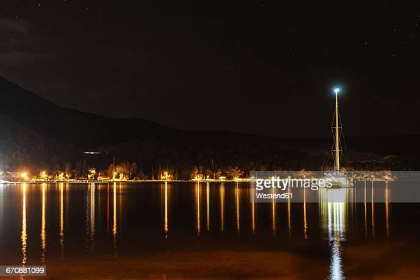 Croatia, Dalmatia, Slano, catamaran at night