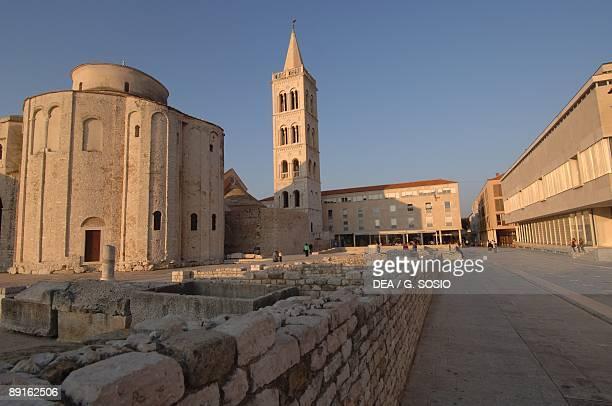 Croatia Dalmatia Zadar Circular St Donat's Church and bell tower at St Stosija's Cathedral