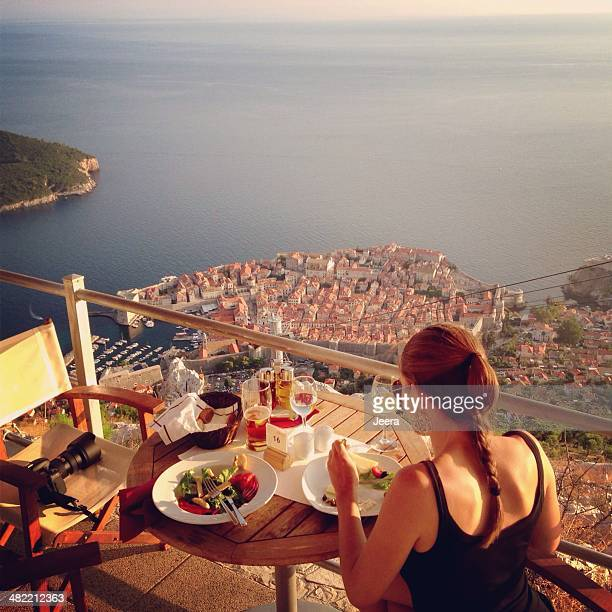 croatia, dubrovnik, dinner at balcony - croatia stock pictures, royalty-free photos & images