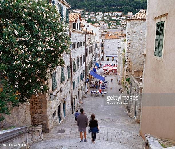 Croatia, Dubrovnik, tourists walking in old town