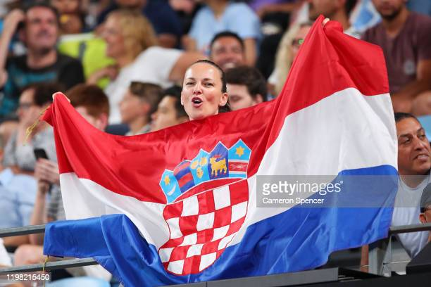 Croatia fan enjoys the atmosphere during the Group E singles match between Marin Cilic of Croatia and Guido Pella of Argentina during day six of the...