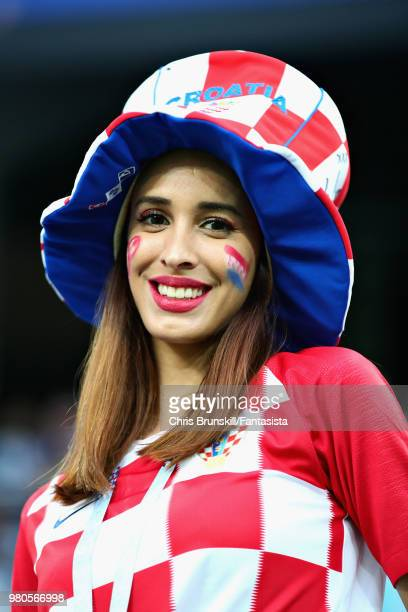 Croatia fan enjoys the atmosphere in the ground before the 2018 FIFA World Cup Russia group D match between Argentina and Croatia at Nizhny Novgorod...