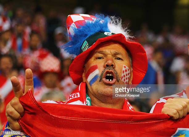 Croatia fan enjoys the atmosphere prior to the UEFA EURO 2012 group C between Ireland and Croatia at The Municipal Stadium on June 10 2012 in Poznan...