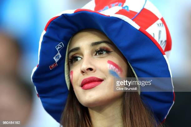 Croatia fan enjoys the pre match atmosphere prior to the 2018 FIFA World Cup Russia group D match between Argentina and Croatia at Nizhny Novgorod...