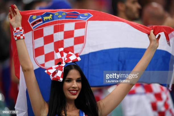 Croatia fan enjoys the pre match atmosphere the 2018 FIFA World Cup Russia Quarter Final match between Russia and Croatia at Fisht Stadium on July 7...