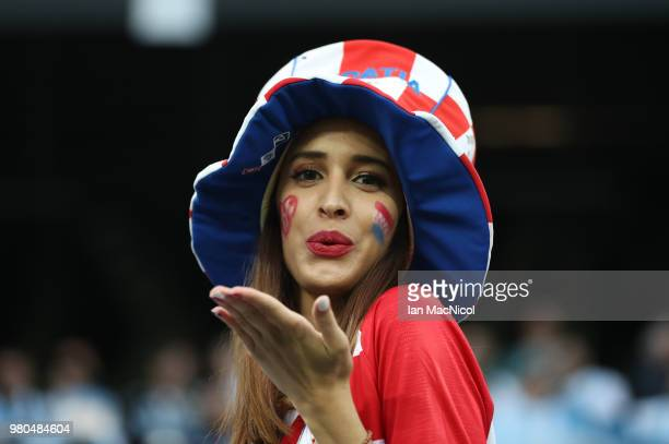 Croatia fan is seen during the 2018 FIFA World Cup Russia group D match between Argentina and Croatia at Nizhniy Novgorod Stadium on June 21 2018 in...