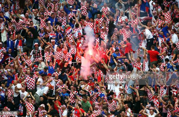 Croatia fans celebrate after Darijo Srna scores the first goal during the UEFA EURO 2008 Group B match between Croatia and Germany at Worthersee...
