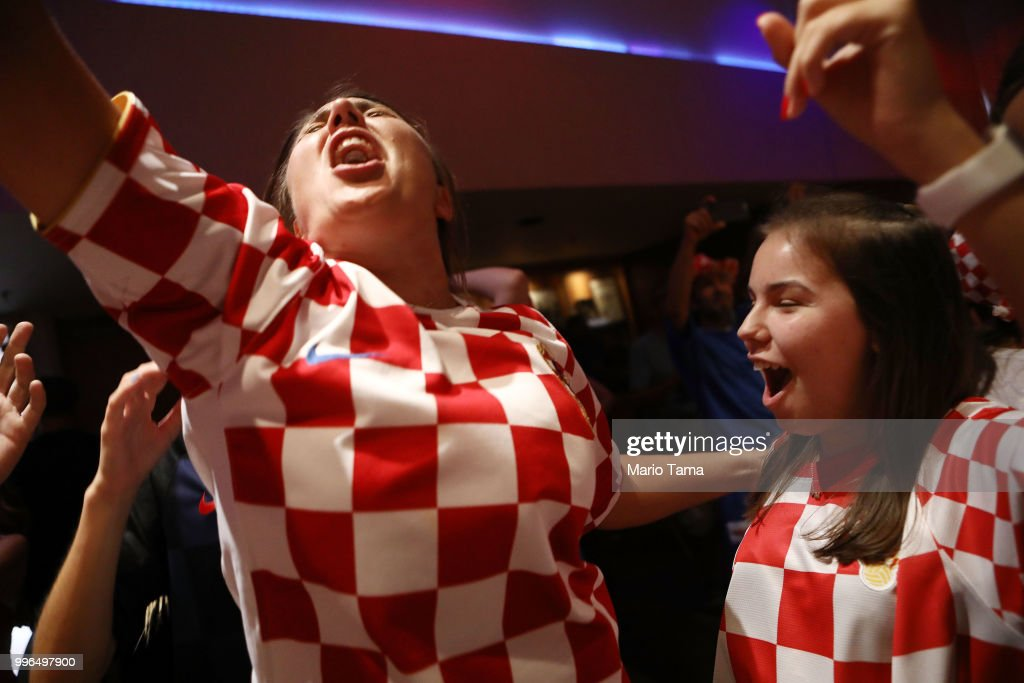 Croatia fans celebrate at a watch party in Saint Anthony Croatian Catholic Church after Croatia defeated England 2-1 to advance to the World Cup final on July 11, 2018 in Los Angeles, California. Croatia advances to the World Cup finals against France for the first time in Croatian history. It is the country's most important sporting moment since it became in independent nation in 1991.