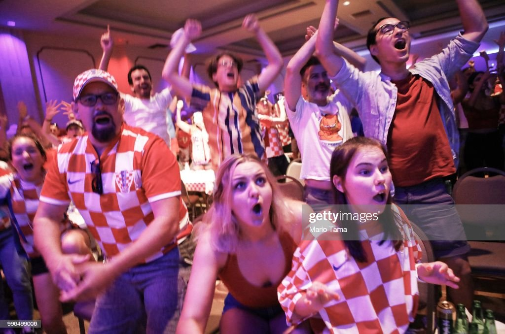 Croatia fans celebrate at a watch party in Saint Anthony Croatian Catholic Church at the moment Croatia defeated England 2-1 to advance to the World Cup final on July 11, 2018 in Los Angeles, California. Croatia advances to the World Cup finals against France for the first time in Croatian history. It is the country's most important sporting moment since it became in independent nation in 1991.