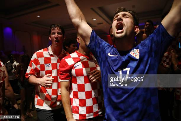 Croatia fans celebrate at a watch party in Saint Anthony Croatian Catholic Church after Croatia defeated England 21 to advance to the World Cup final...