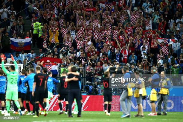 Croatia fans celebrates with the players following their sides victory in the 2018 FIFA World Cup Russia group D match between Argentina and Croatia...