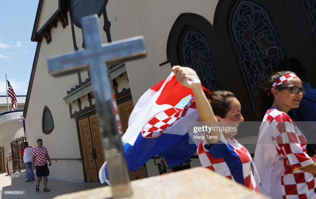 Croatia fans depart a watch party at Saint Anthony Croatian Catholic Church after Croatia defeated England 2-1 to advance to the World Cup final on July 11, 2018 in Los Angeles, California. Croatia advances to the World Cup finals against France for the first time in Croatian history. It is the country's most important sporting moment since it became in independent nation in 1991.
