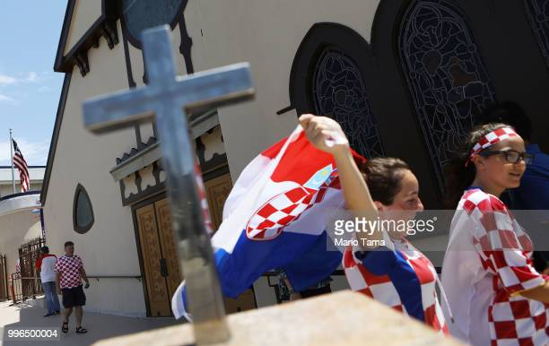 Croatia fans depart a watch party at Saint Anthony Croatian Catholic Church after Croatia defeated England 21 to advance to the World Cup final on...