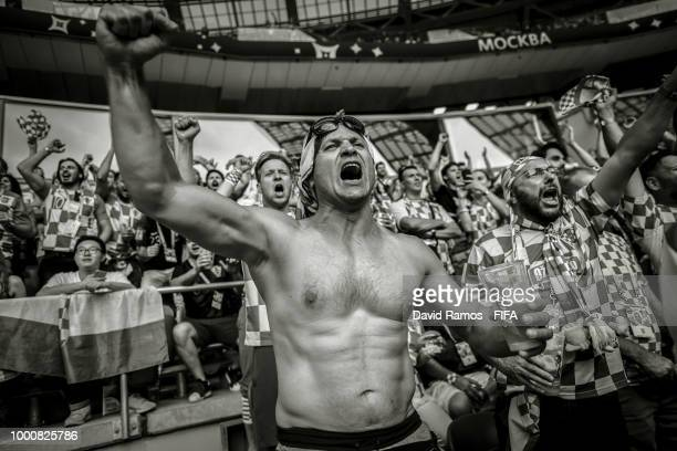 Croatia fans enjoy the atmosphere during the 2018 FIFA World Cup Russia Final between France and Croatia at Luzhniki Stadium on July 15 2018 in...
