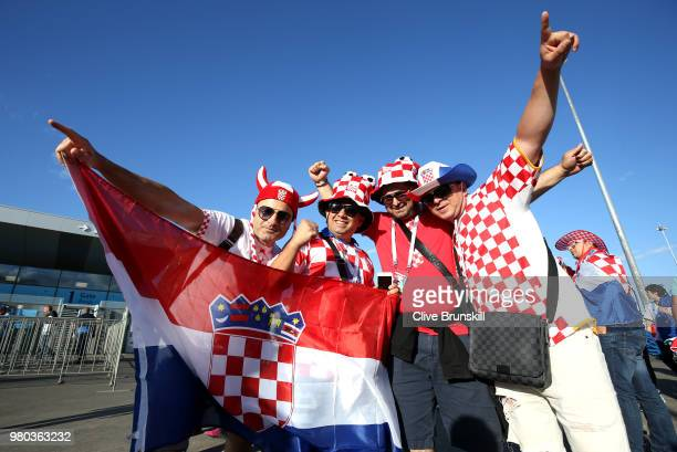 Croatia fans enjoy the pre match atmosphere prior to the 2018 FIFA World Cup Russia group D match between Argentina and Croatia at Nizhny Novgorod...