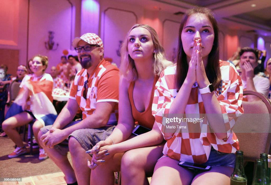 Croatia fans watch at a watch party in Saint Anthony Croatian Catholic Church before Croatia defeated England 2-1 to advance to the World Cup final on July 11, 2018 in Los Angeles, California. Croatia advances to the World Cup finals against France for the first time in Croatian history. It is the country's most important sporting moment since it became in independent nation in 1991.