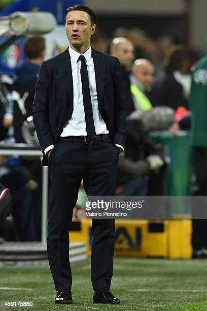 Croatia head coach Niko Kovac watches the action during the EURO 2016 Group H Qualifier match between Italy and Croatia at Stadio Giuseppe Meazza on...