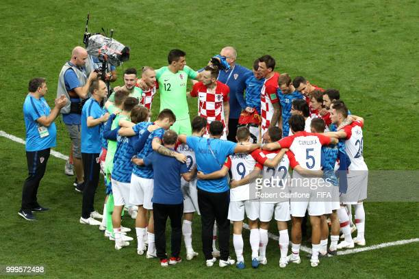 Croatia huddle after their defeat following the 2018 FIFA World Cup Final between France and Croatia at Luzhniki Stadium on July 15 2018 in Moscow...