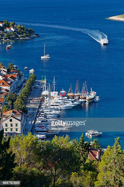 croatia, hvar island, hvar and harbour - hvar stock photos and pictures