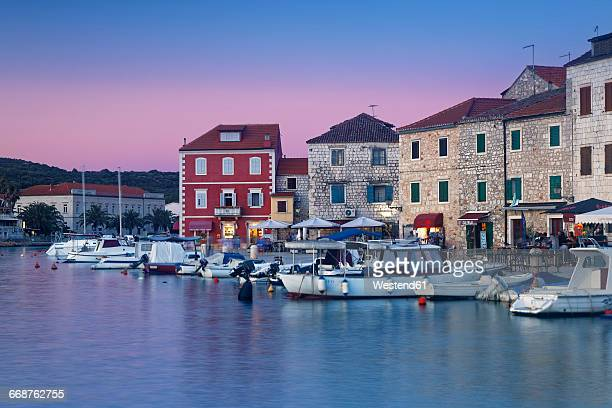 Croatia, Hvar Island, Starigrad, Boats anchoring in the evening