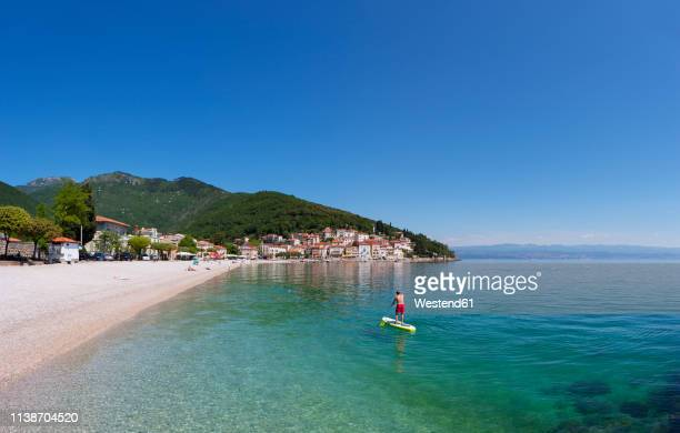croatia, istria, adria, kvarner gulf, moscenicka draga, beach - croatia stock pictures, royalty-free photos & images