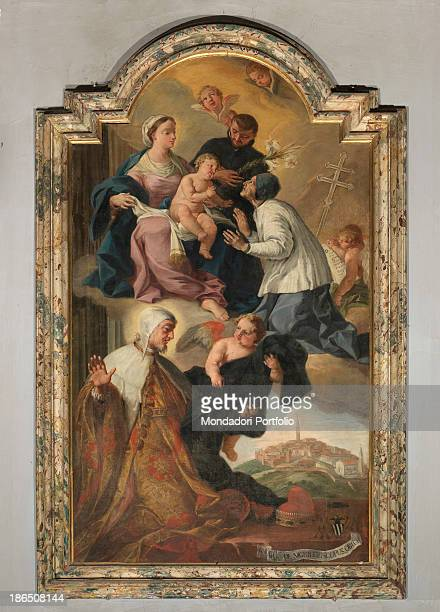 Croatia Istria Buje St Servolo's church Whole artwork view In the upper part of the composition the Holy Virgin with Baby Jesus and saints in the...