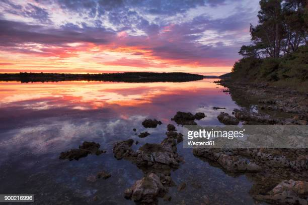 croatia, istria, kamenjak natural park, sunrise on the adriatic sea - nature reserve stock pictures, royalty-free photos & images