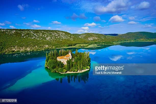 croatia, krka national park, visovac monastery - croatia stock pictures, royalty-free photos & images