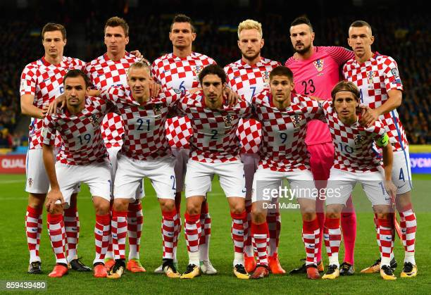 Croatia line up prior to the FIFA 2018 World Cup Group I Qualifier between Ukraine and Croatia at Kiev Olympic Stadium on October 9 2017 in Kiev...