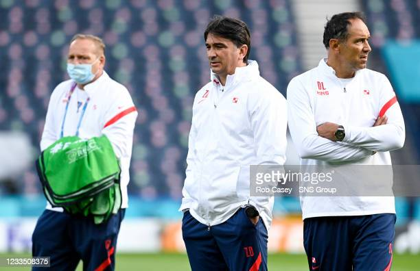 Croatia manager Zlatko Dalic during a training session at Hampden Park on June 17 in Glasgow, Scotland.