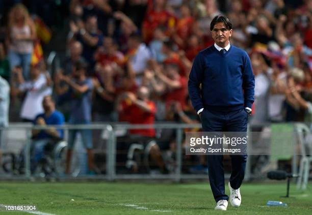 Croatia manager Zlatko Dalic reacts during the UEFA Nations League A group four match between Spain and Croatia at Estadio Manuel Martinez Valero on...