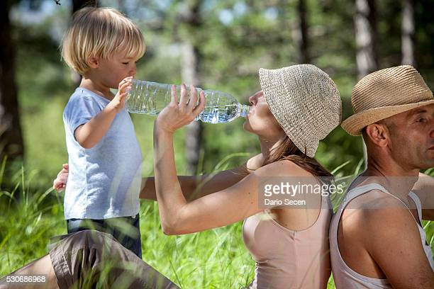 croatia, paklenica, family with one child takes a rest in a meadow - pine woodland stock pictures, royalty-free photos & images