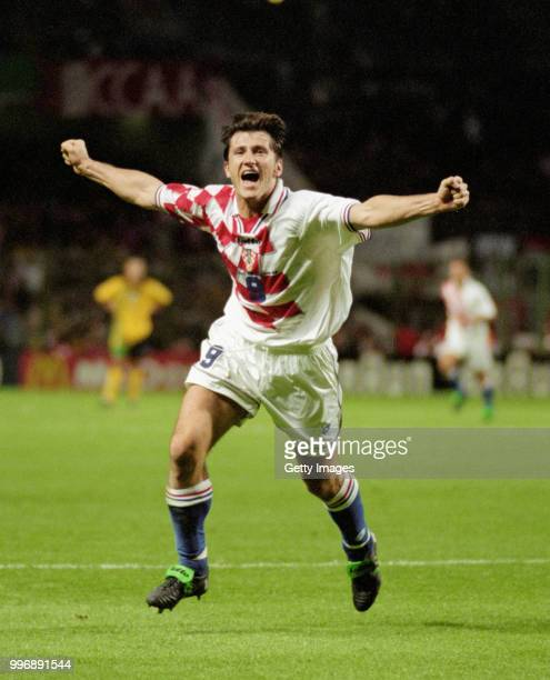 Croatia player Davor Suker celebrates after scoring against Jamaica at the 1998 World Cup Finals on June 14 1998 in Lens France