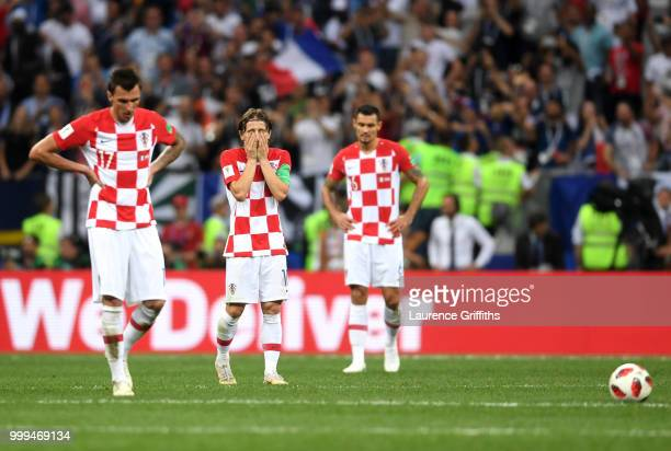 Croatia player look dejected following France fourth goal during the 2018 FIFA World Cup Final between France and Croatia at Luzhniki Stadium on July...