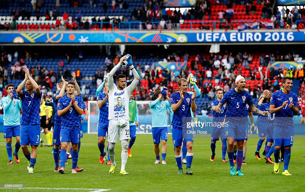 Croatia players applaud the supporters after their 1-0 win in the UEFA EURO 2016 Group D match between Turkey and Croatia at Parc des Princes on June 12, 2016 in Paris, France.